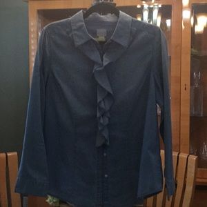 Chico's denim shirt with ruffles EUC